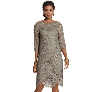 Chico's Crochet Peasant Lace Dress Gray Green